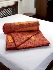 Brown Printed Single Cotton Quilt - Jodhaa