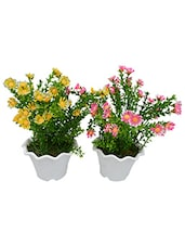 Set Of 2 Desktop Artificial Flower Bush With Pot For Decoration - By