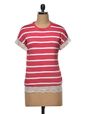 Striped T-shirt With Lace - RUTE