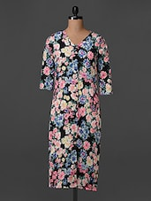 Quarter Sleeves V Neck Floral Print Dress - Bella Rosa