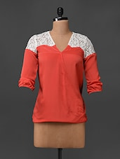 Quarter Sleeves Poly Crepe & Lace Top - Bella Rosa