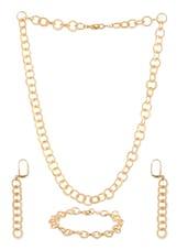 Golden Metal Alloy  Necklace Set - Siyora