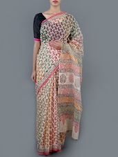 Paisley Printed Cotton Saree With Blouse - Jaipurkurti.com