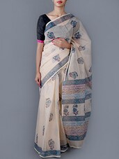 Floral Printed Cotton Saree With Blouse - Jaipurkurti.com