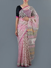 Paisley Printed Cotton Saree With Blouse - Jaipurkurti.com - 1019860