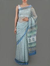 Floral Printed White Cotton Saree - Jaipurkurti.com