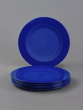 Blue Blue Plain Solid Plates Set Of 6 - Cutting Edge