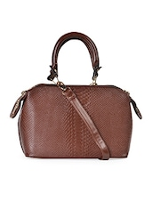 Brown Textured Tote - TREND SHOP