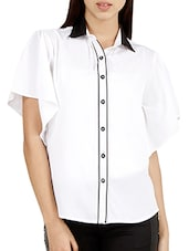 White Short Sleeve Poly Crepe Top - HERMOSEAR