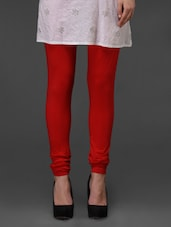 Red Plain Cotton Churidar - Fashionexpo