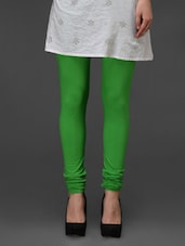 Green Plain Cotton Churidar - Fashionexpo