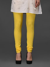 Yellow Plain Cotton Churidar - Fashionexpo