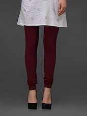 Dark Maroon Plain Cotton Churidar - Fashionexpo