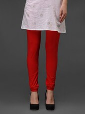 Red Plain Cotton Leggings - Fashionexpo