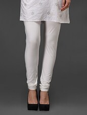 White Plain Cotton Leggings - Fashionexpo