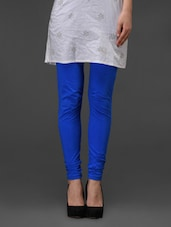 Blue Plain Cotton Leggings - Fashionexpo