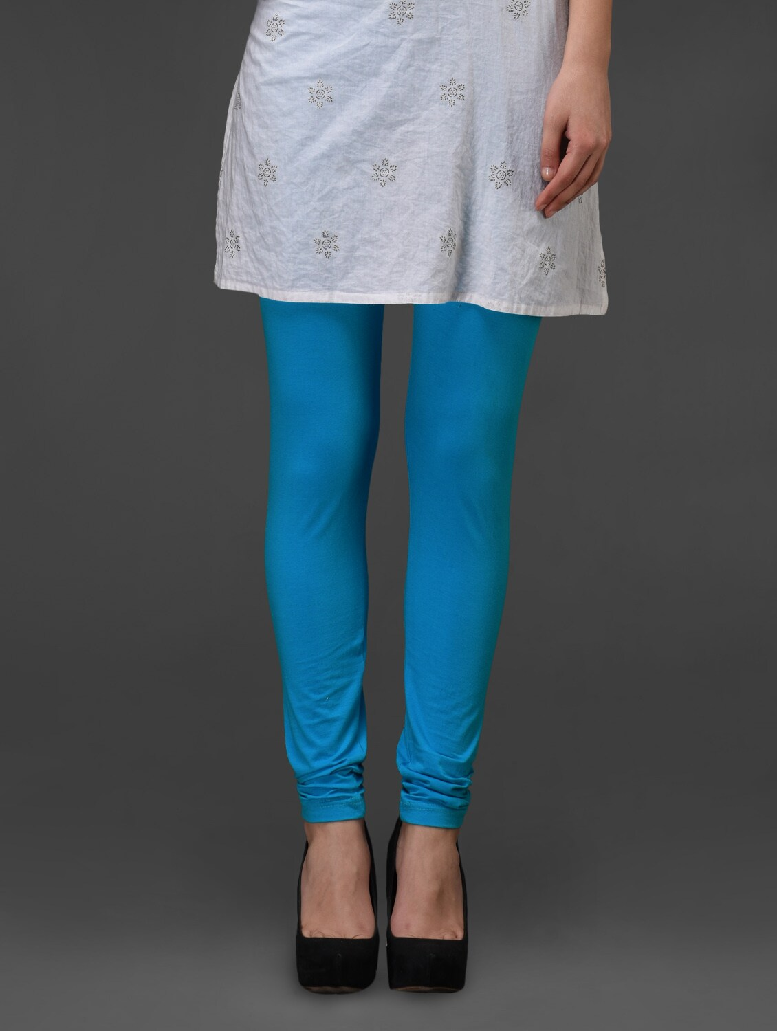 Turquoise Plain Cotton Leggings - Fashionexpo