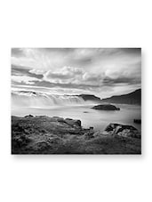 Black & White Waterfall Printed Canvas - Aalapino