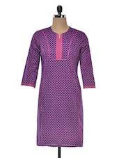 Block Print Kurti With Piping Detailing - Rainbow Hues