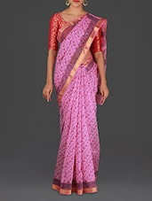 Pink Hand Block Printed Silk Cotton Saree - Spatika Sarees