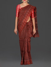 Maroon Hand Block Printed Silk Cotton Saree - Spatika Sarees