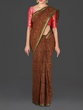 Brown Hand Block Printed Andhra Cotton Saree - Spatika Sarees