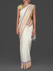 Off White Maheshwari Silk Cotton Saree - By