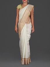 Off White Maheshwari Silk Cotton Saree - Spatika Sarees