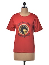Red Round Neck Printed T Shirt - Happily Unmarried