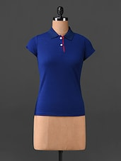 Blue Short Sleeves Polo Neck T-shirt - Northern Lights