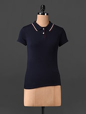 Dark Blue Short Sleeves Polo Neck T-shirt - Northern Lights