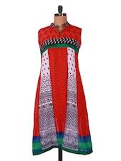 Multicolor Printed Sleeveless Georgette Kurti - Sutee