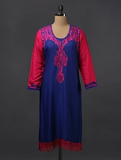 Royal Blue Embroidered Lace Hemline Kurti - Aamii