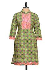 Cotton Printed Three-quarter Sleeved Kurti - Aamii