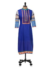 Blue & Orange Printed Cotton Kurta - SATTYAA