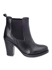 Black Leatherette Chunky Heel Boots -  online shopping for boots