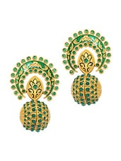 Intricate Gold And Green Embellished Ethnic Earrings - Alankruthi