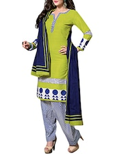 DFOLKS green cotton  Unstitched suit  -  online shopping for Unstitched Suits