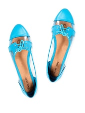 Turquoise Blue Oxfords With Clear Panels - Marc Loire