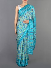 Sky Blue Printed Chinon Saree - Siya