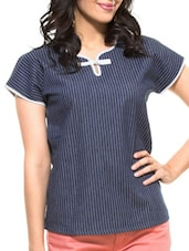 Blue Striped Denim Top - ZOVI
