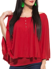 Red Poncho Style Top - ZOVI