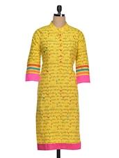 Printed Three Quarter Sleeves Cotton Kurti - Golden Peacok