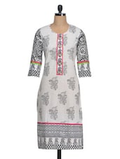 Printed Three Quarter Sleeves Cotton Kurti - Golden Peacok