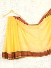 Yellow Art Silk And Cotton Banarasi Saree - Prabha Creations