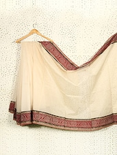 Off-White Art Silk And Cotton Banarasi Saree - Prabha Creations