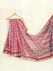 Printed Pink Art Silk And Zari Banarasi Saree - Prabha Creations