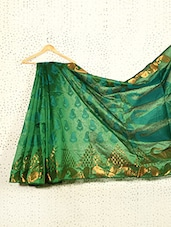 Printed Emerald Green Art Silk And Zari Banarasi Saree - Prabha Creations