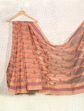 Printed Peach Art Silk And Zari Saree - Prabha Creations