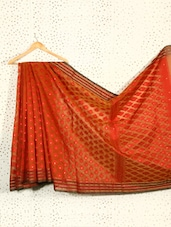 Rust Orange Jacquard Art Silk Saree - Prabha Creations